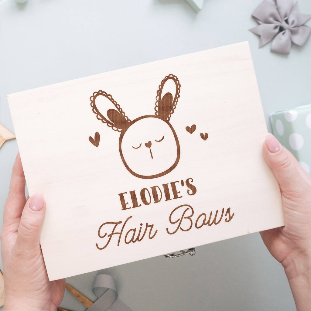 Pale Wood Hair Bow Box with 6 Compartments with Rabbit Design
