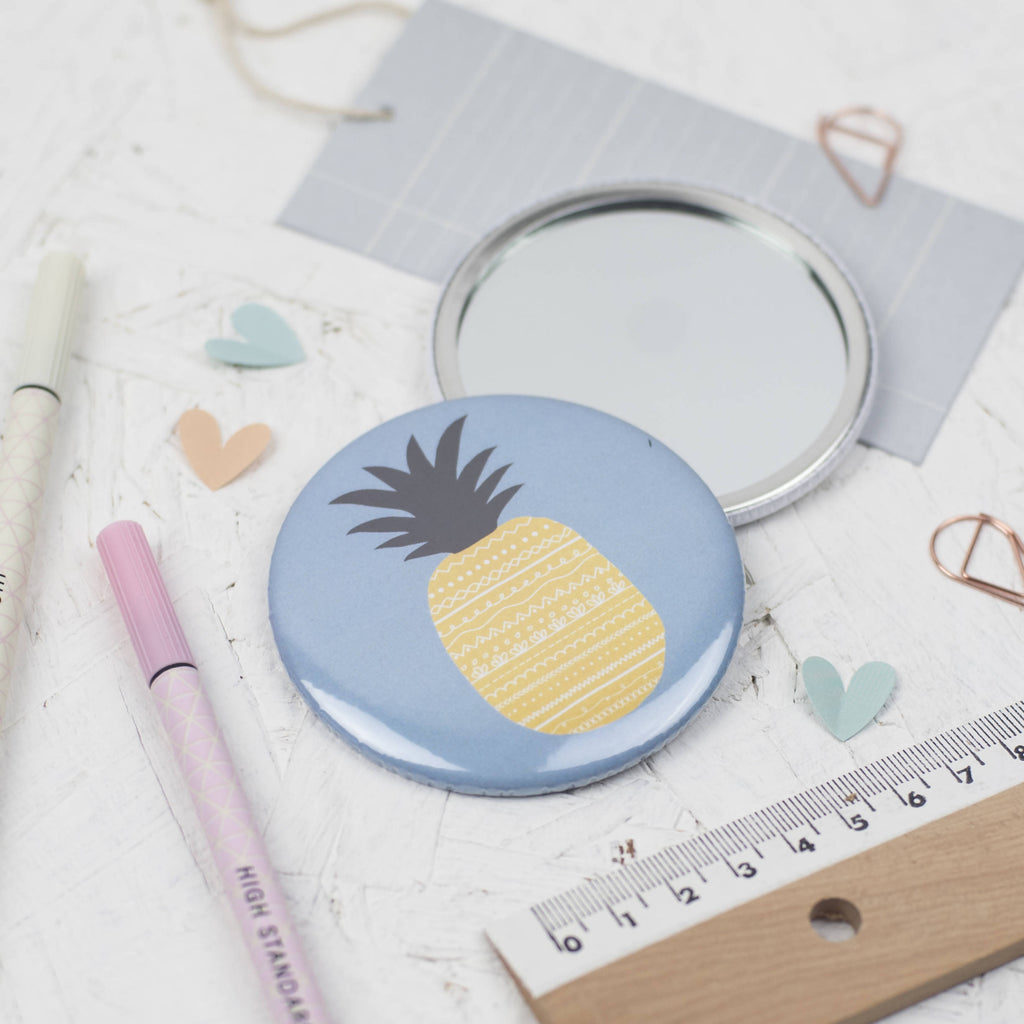 Pineapple pocket mirror