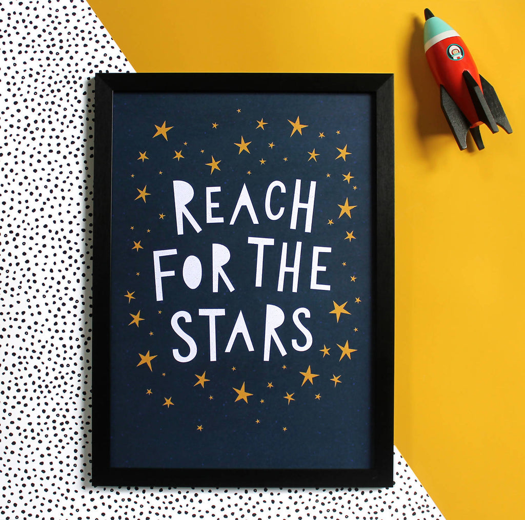 Reach For The Stars Print - Wall Art - Nursery Print - Children's Print - Inspirational Print