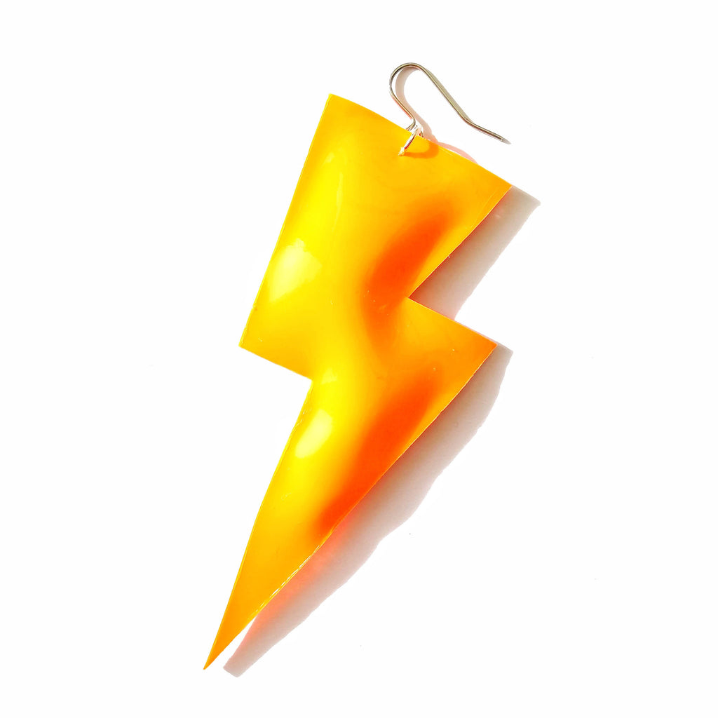 Super Disco Bolt Lightning Bolt Earrings - Patent Leatherette Collection