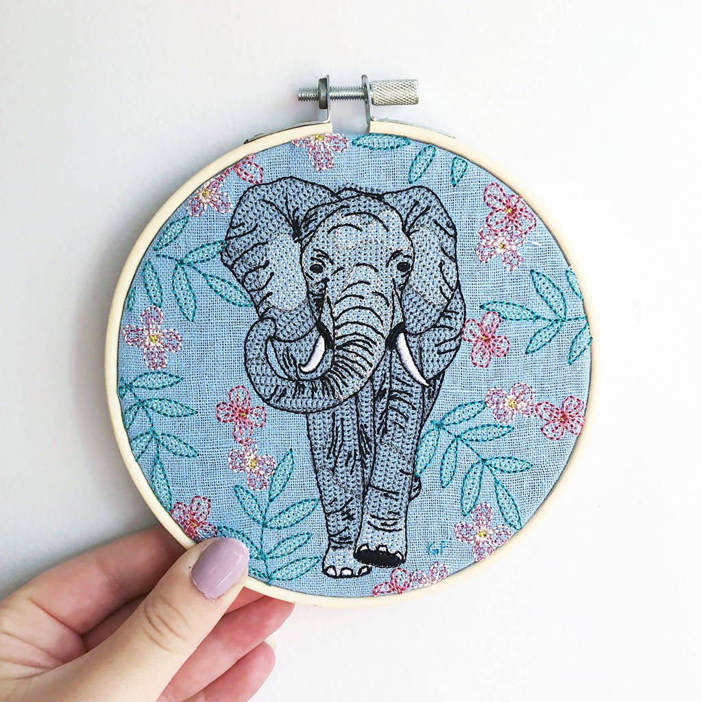 Elephant Embroidery Hoop Art