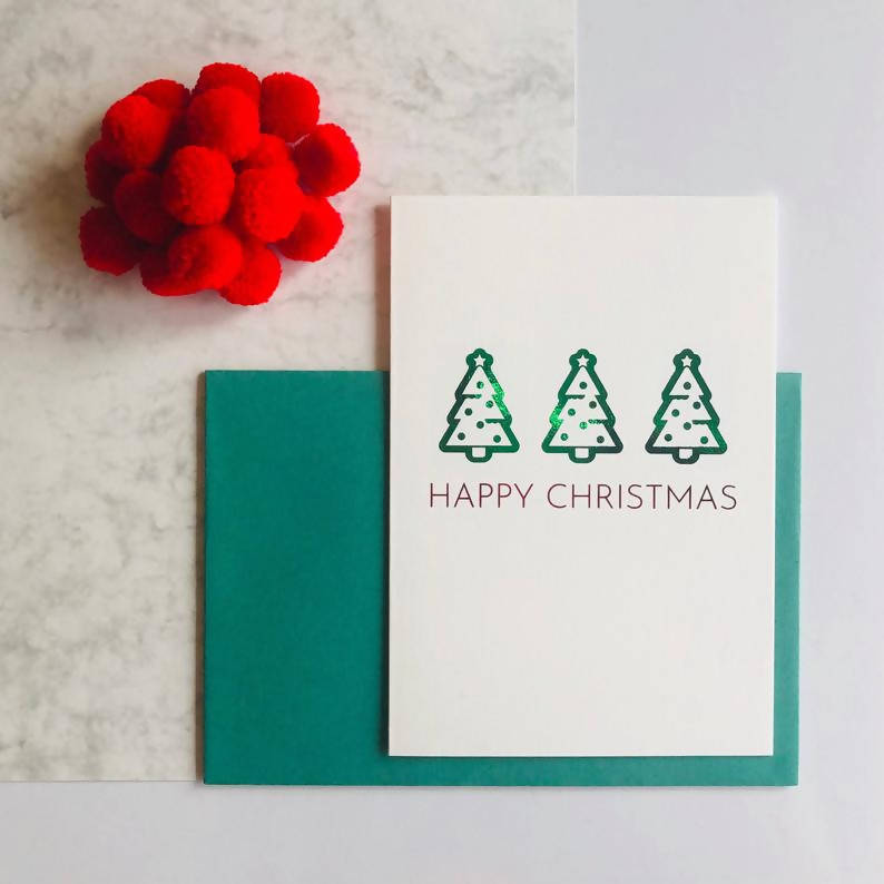 Single or Packs of Christmas Tree Charity Foiled Christmas Card