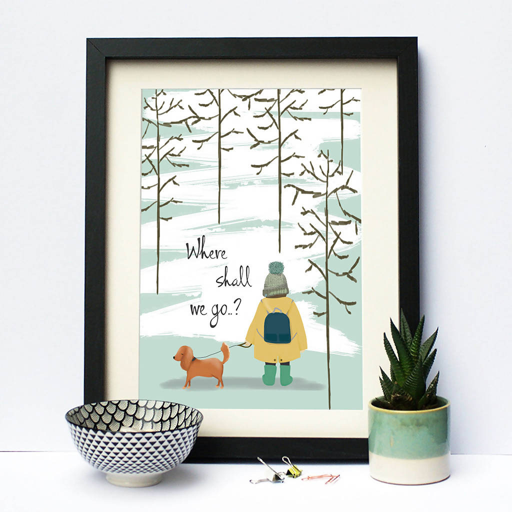 Illustrated Print Where Shall We Go? Boy And Dog