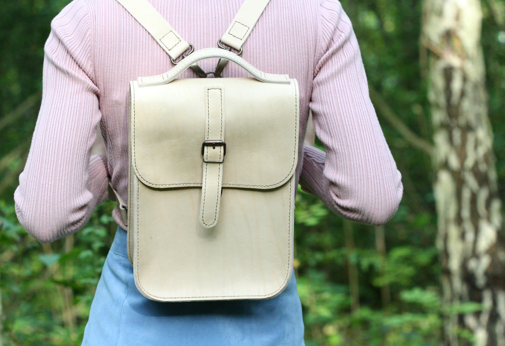 Small Leather Backpack - Tan Brown, Cream
