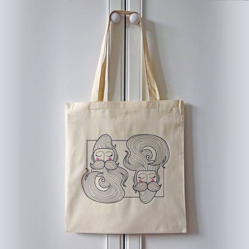 Beard illustrated tote bag