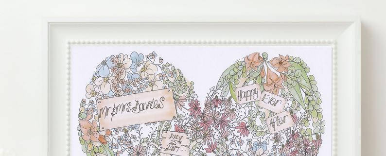 Vintage Flowers Personalised Wedding Print