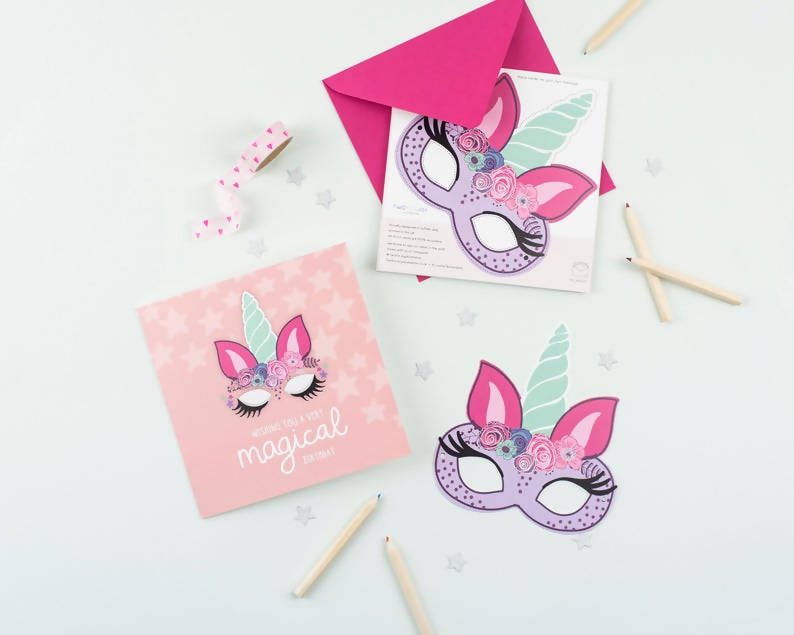 Unicorn Birthday Card with Cut-Out Crafty Activity
