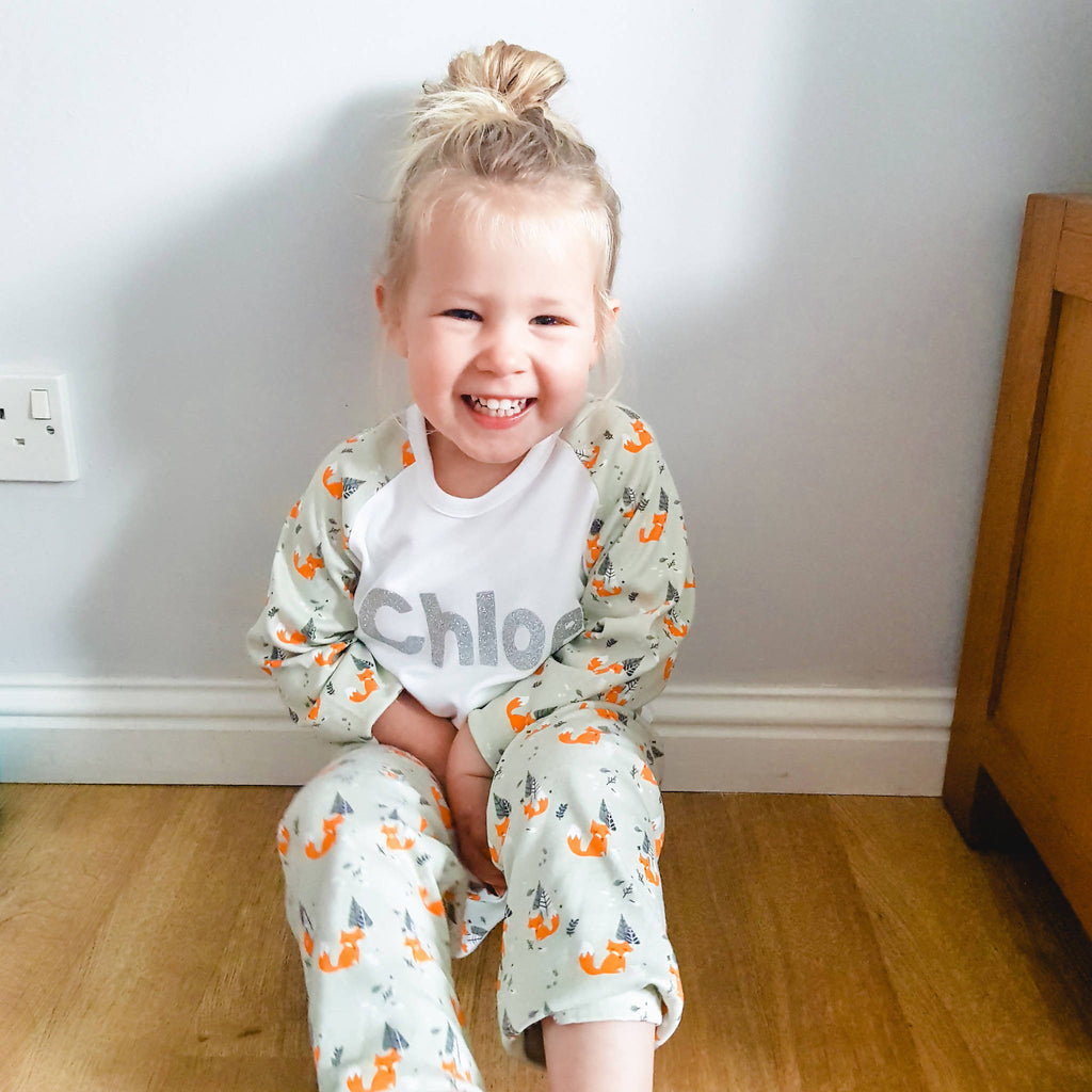Personalised Woodland Print Pyjama Set / Christmas Pjs