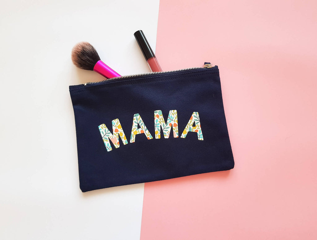 Mama Floral Patterned Pouch/ Make up Bag/ Pencil Case
