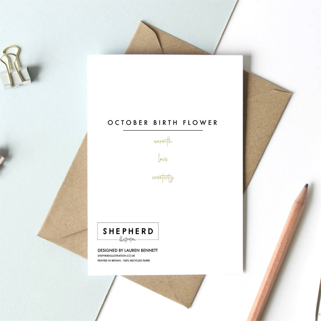 October Birth Flower Greeting Card