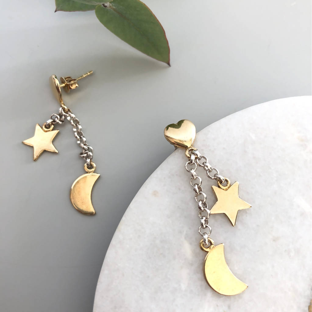 9ct Gold Star and Moon Drop Earrings