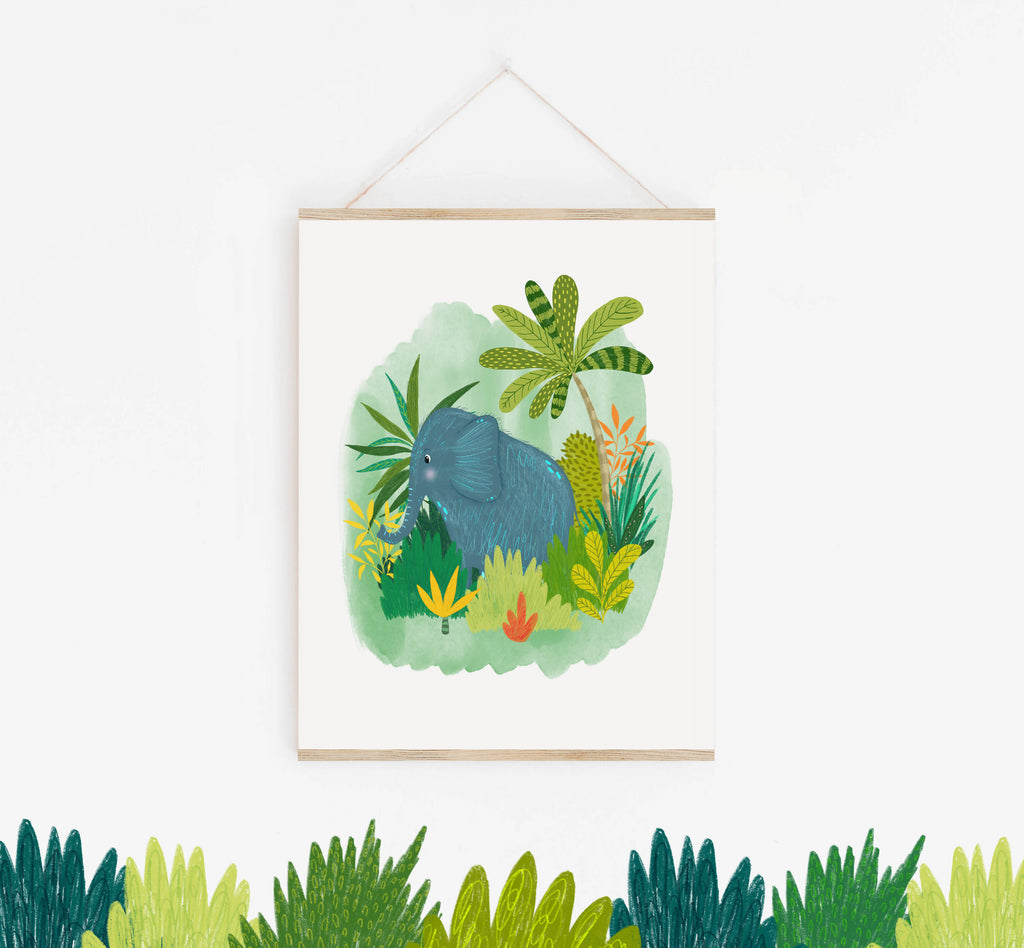 Elephant Jungle Illustration Print