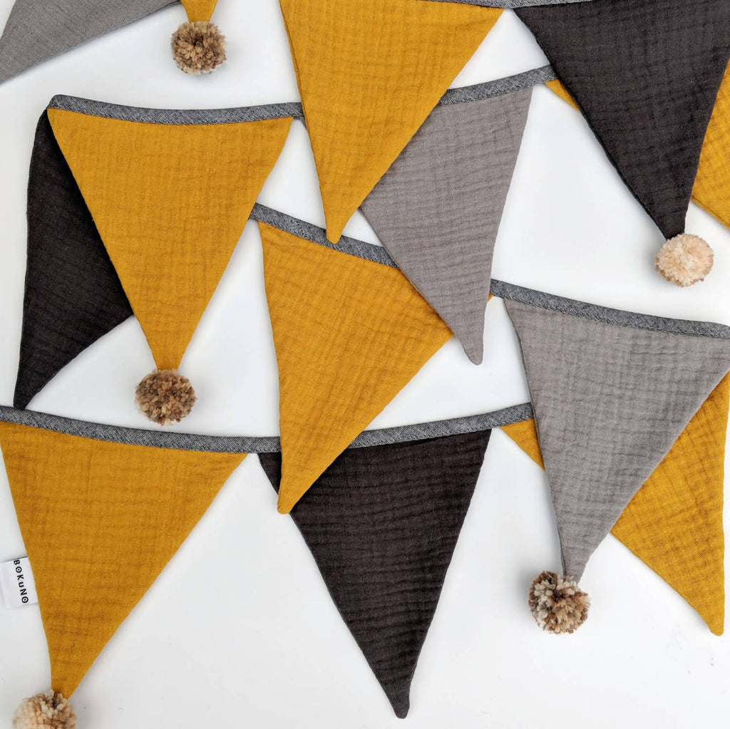 Double gauze fabric bunting pompom garland - yellow and grey