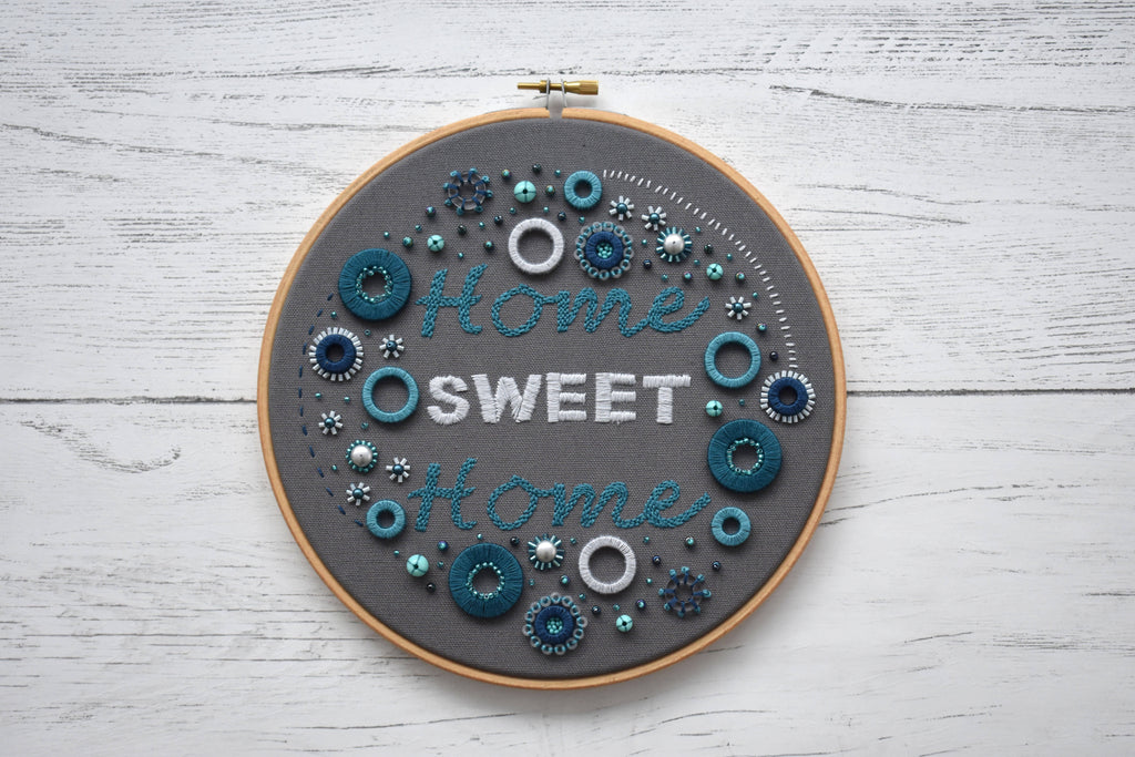 Home Sweet Home Embellished Embroidery Hoop