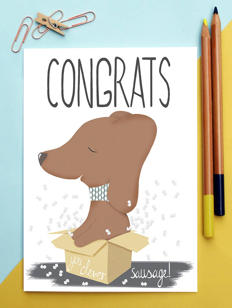 Congratulations Card Dachshund Clever Sausage
