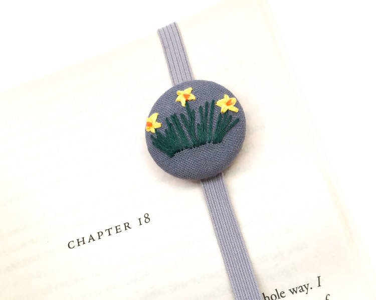 Embroidered Daffodil Bookmark