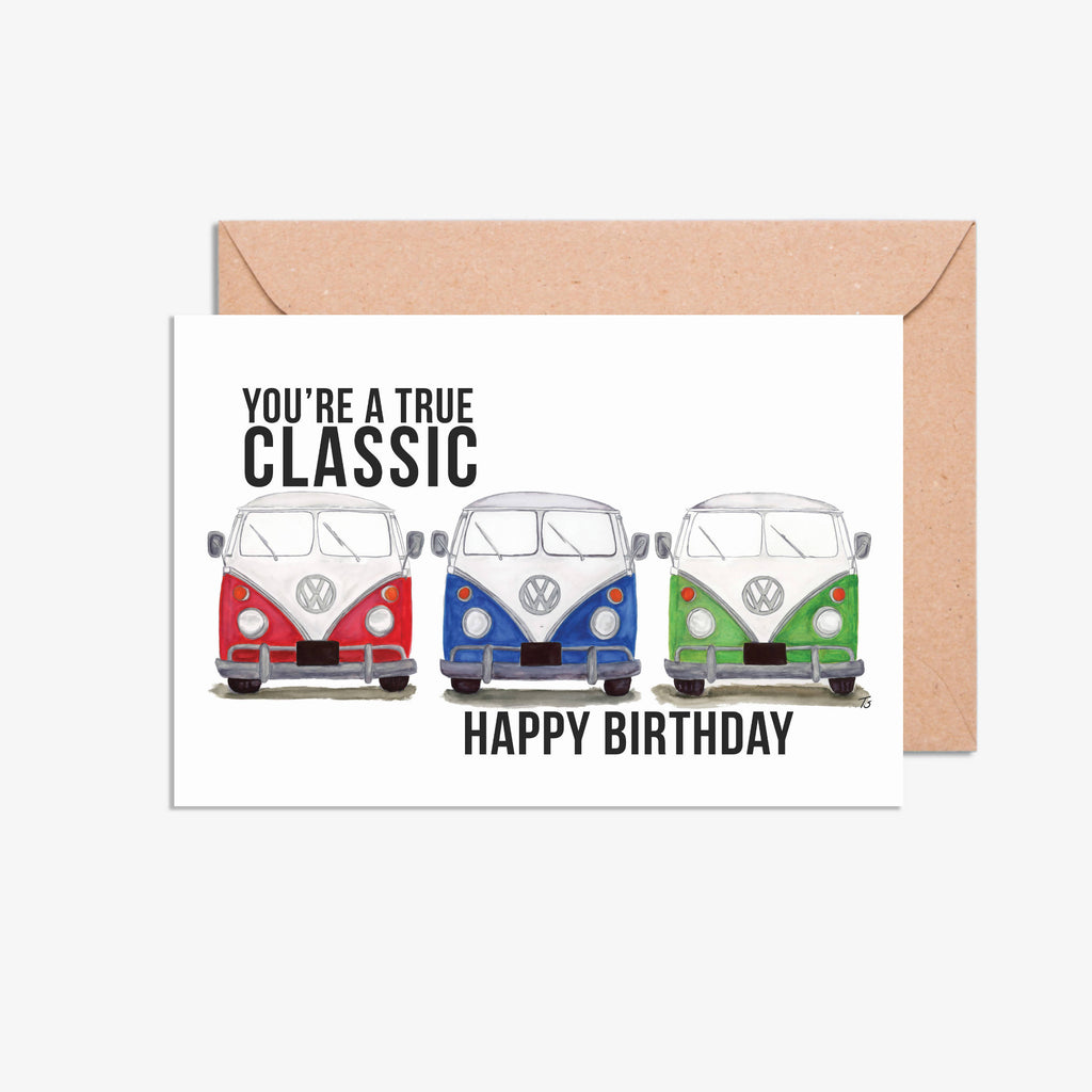 Happy Birthday You're a True Classic Car Illustration Handmade & Printed A5 Card