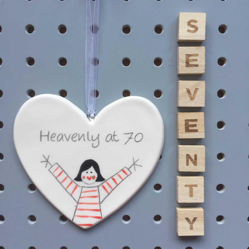 70 - Heavenly at 70 - Hand painted Ceramic Heart