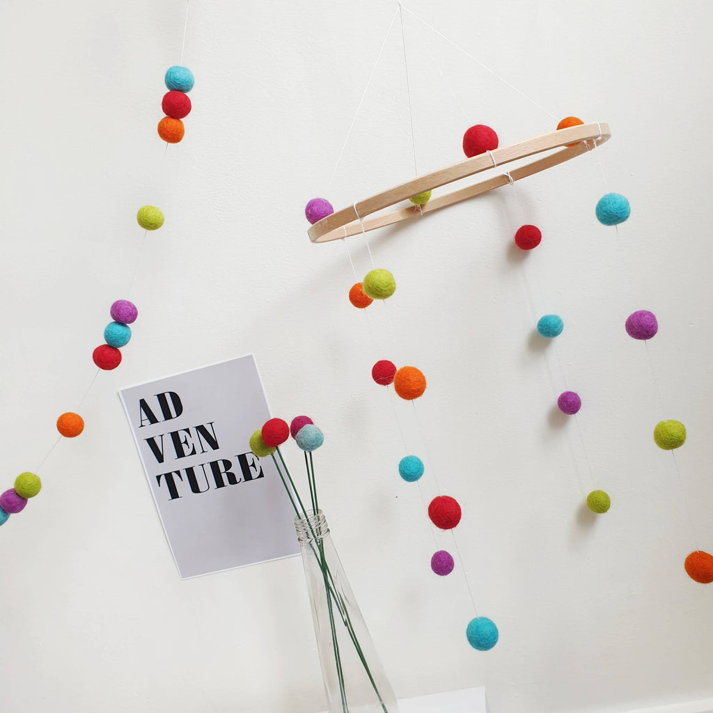 Custom Felt Ball Cot Mobile - Pom Pom Nursery Decor