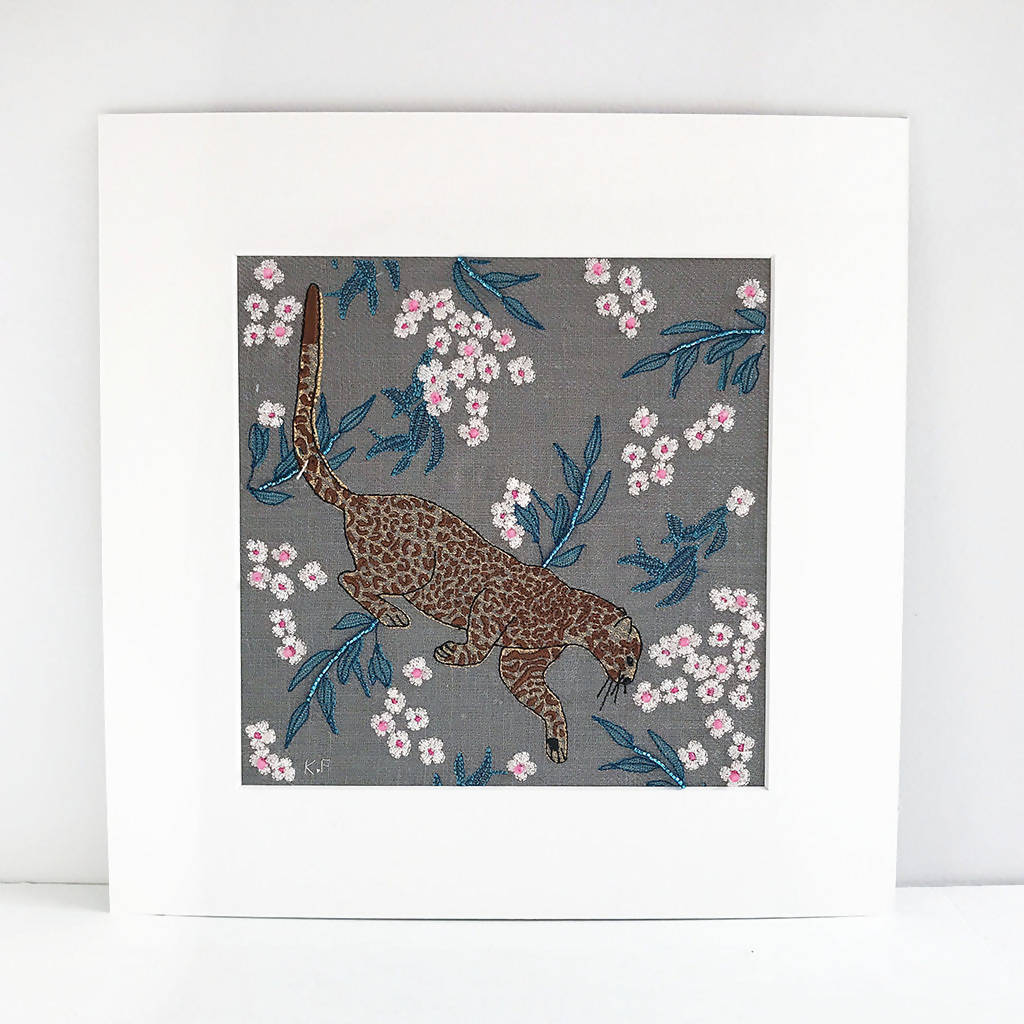 Wall Art, Leopard Art, Contemporary Embroidery, Animal Embroidery