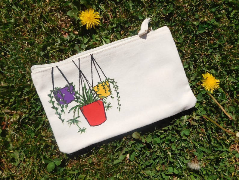 Hanging House Plant Hand Painted Organic Cotton Accessory Pouch