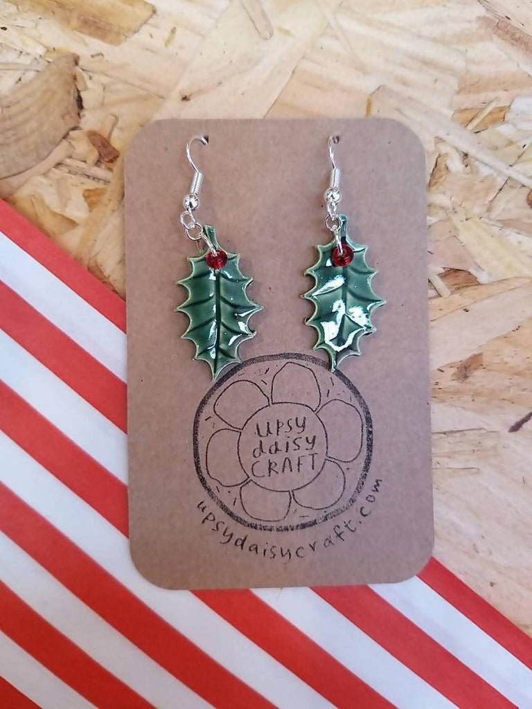 Ceramic Holly and Berry Earrings
