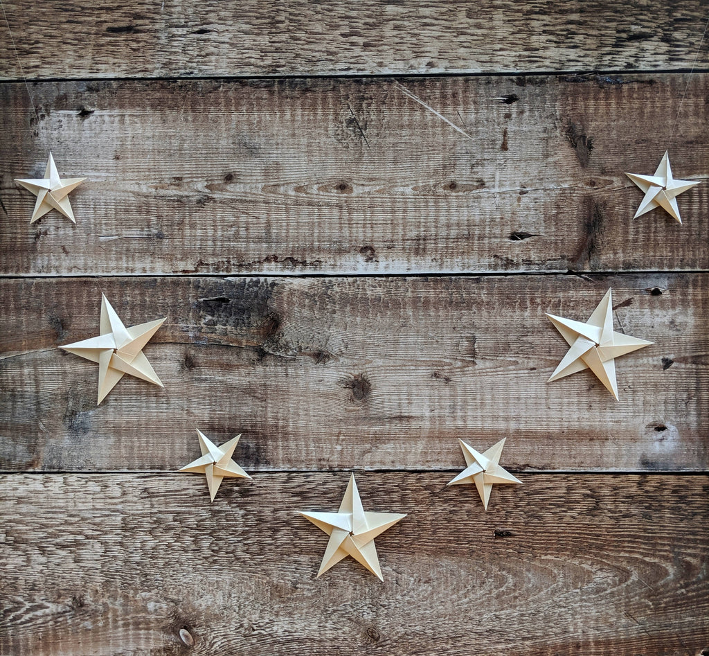 ivory origami paper star garland