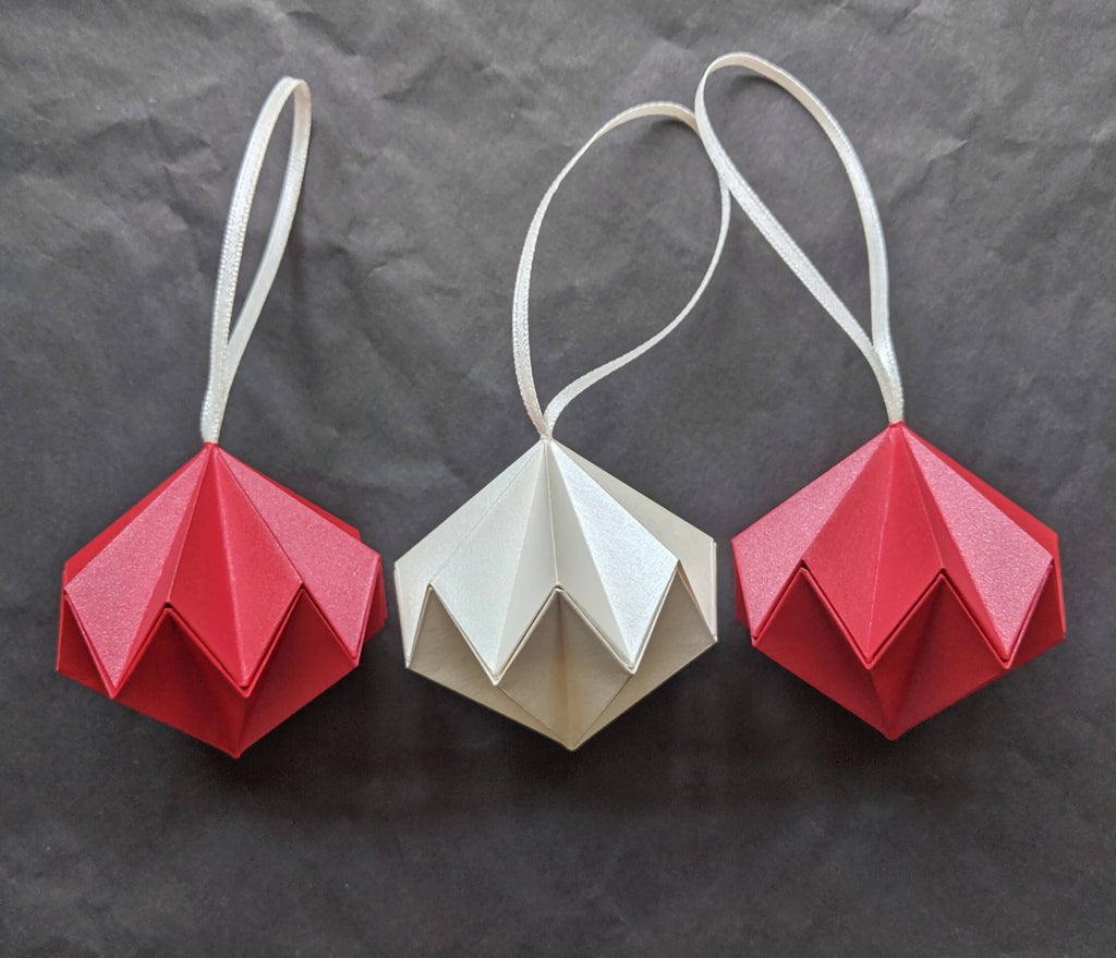 group of three origami diamond tree decorations