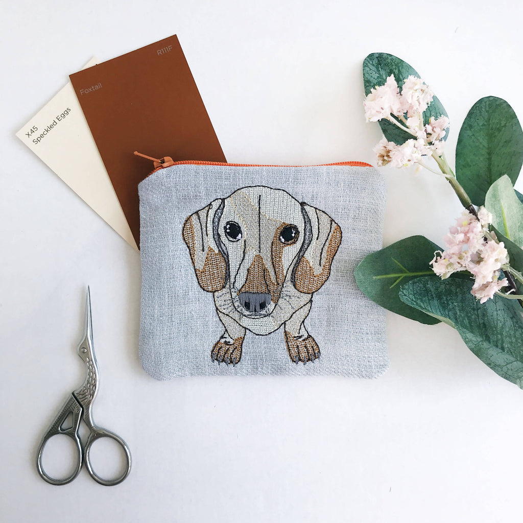 Dove Grey Embroidered Dachshund Purse