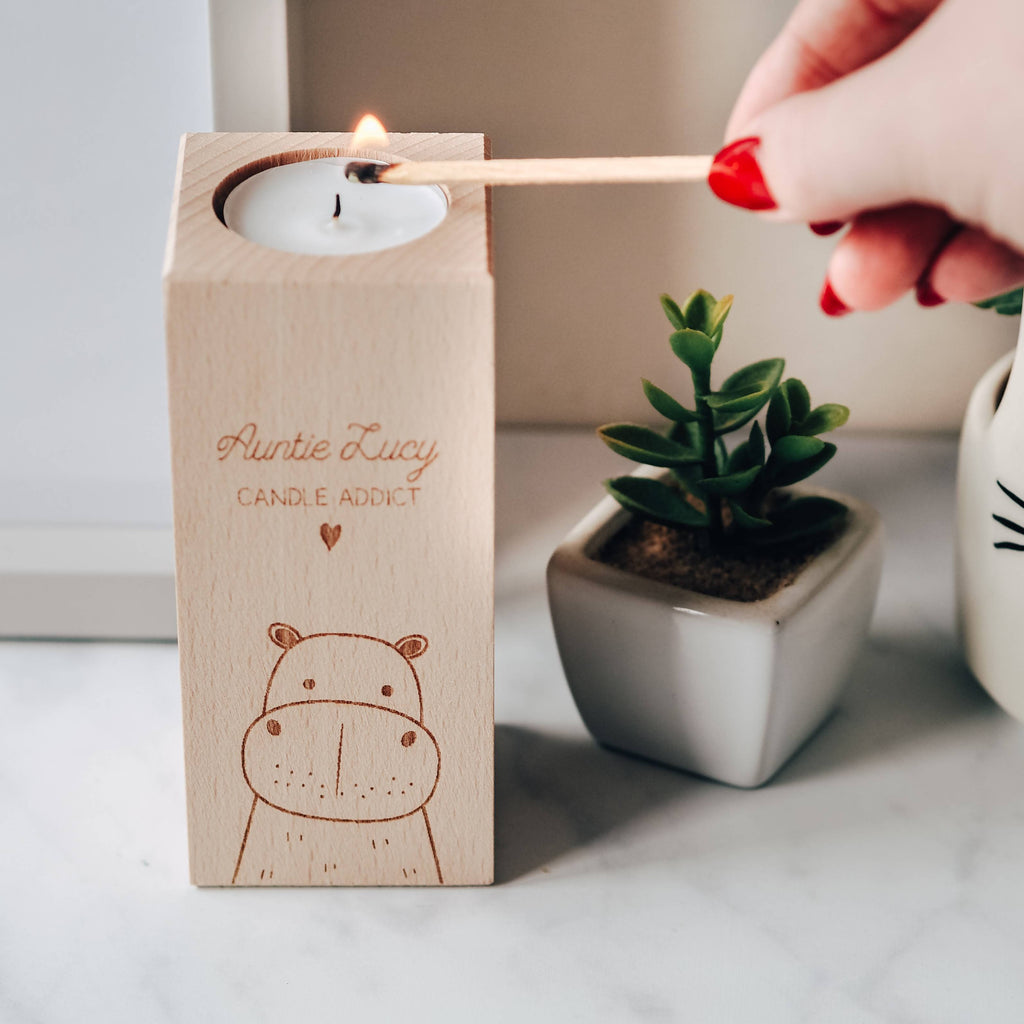 Tall Tea Light Candle Holder with Hippo Design