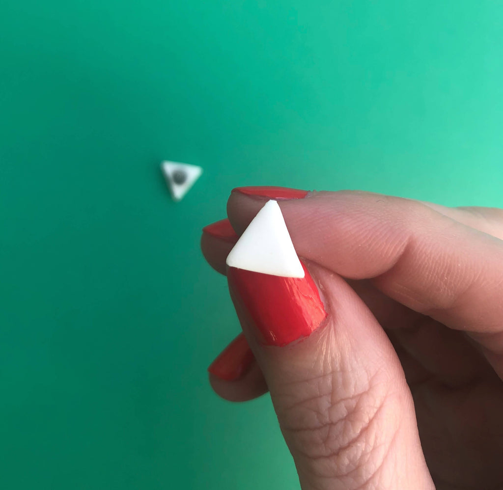 White triangle clay earrings