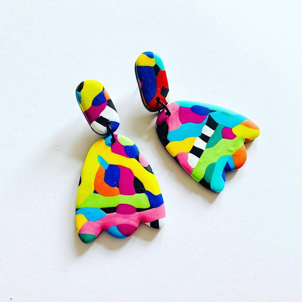 Colourful rainbow squiggle earrings