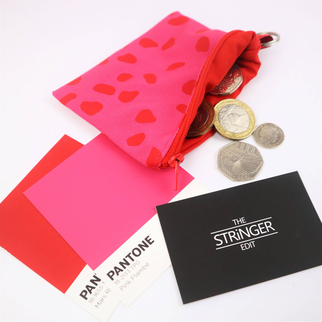 Red and Pink Dalmatian Spot Coin Purse