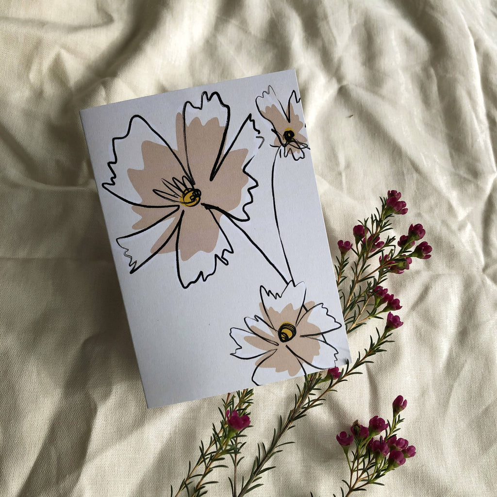 A6 Greetings Card - Pink Floral