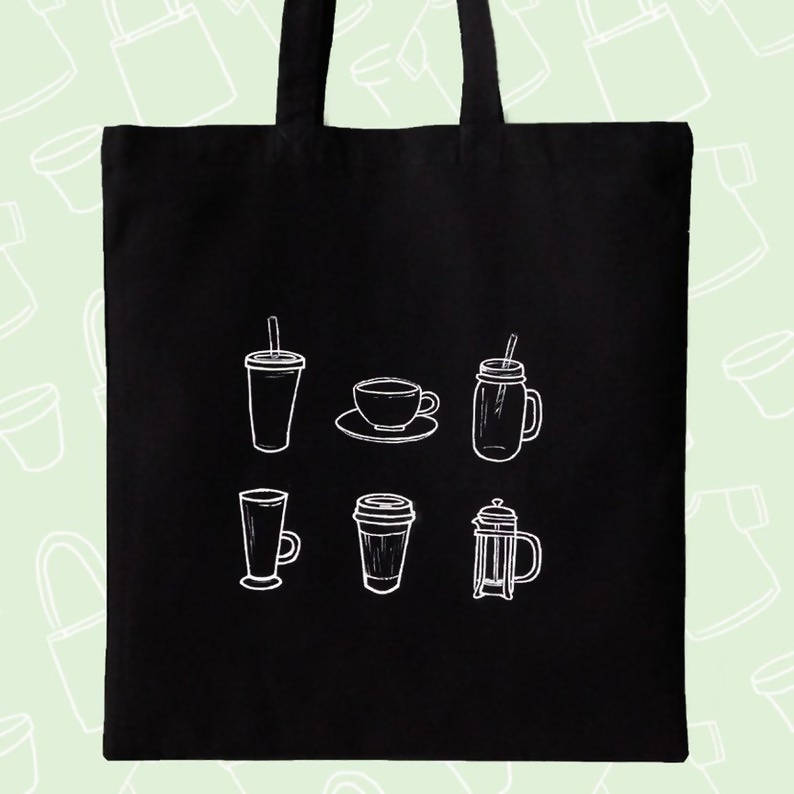 Half Human, Half Coffee & Coffee cups double sided Black and White - Hand painted Cotton Tote Eco Friendly Everyday Sustainable Shopper Bag