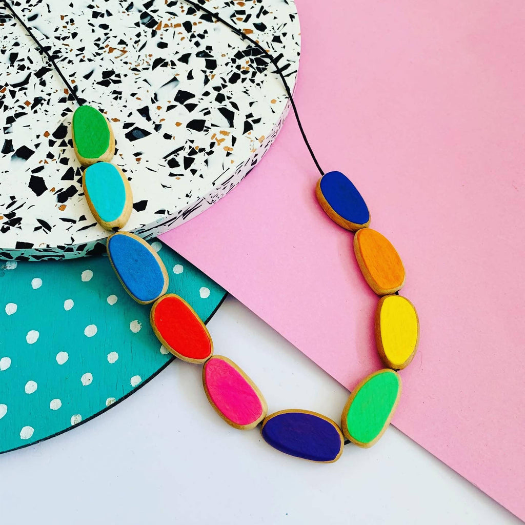 Rainbow bead long statement necklace