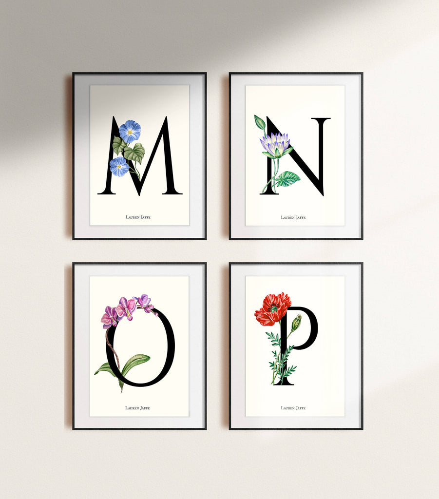 Botanical Letters Giclée Print /Floral Alphabet - Personalisation available