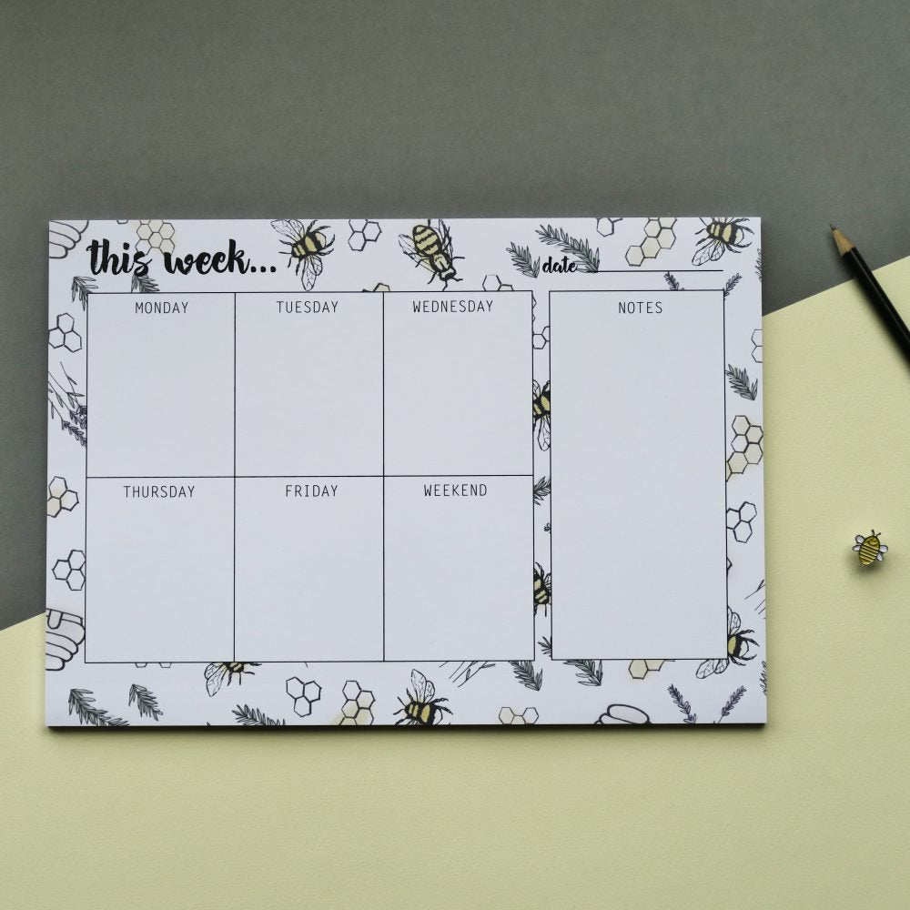 Bee Theme Weekly Desk Planner Pad