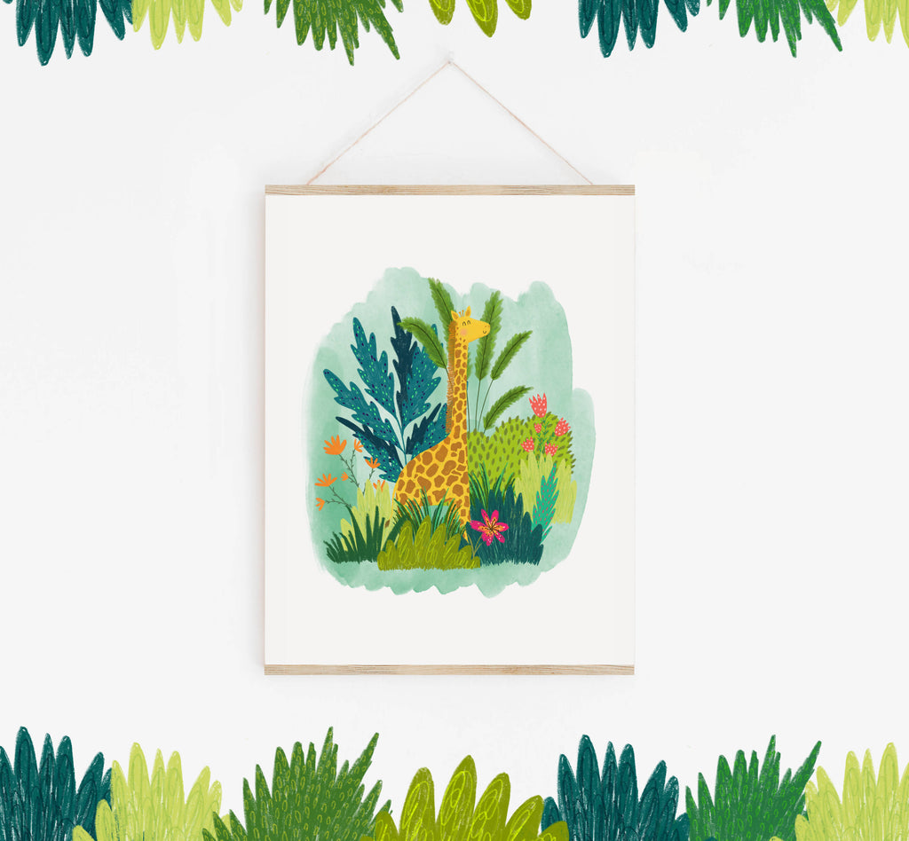 Giraffe Jungle Illustration Print