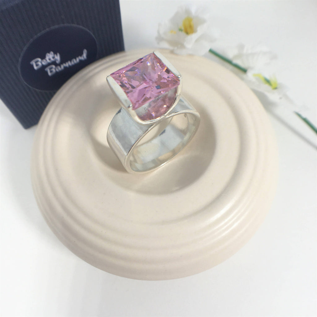 Sterling Silver Pink Cubic Zirconia Tension Set Statement Ring - Hallmarked