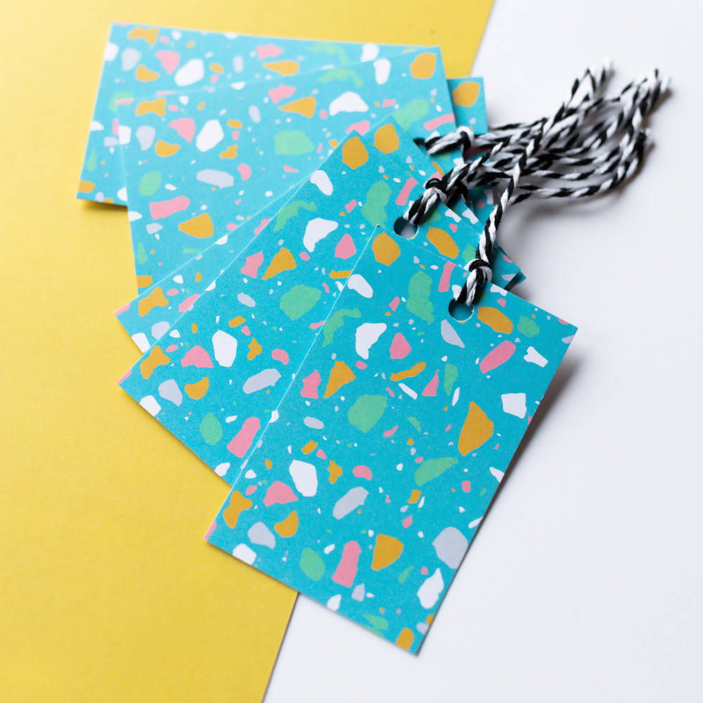 Blue Terrazzo Gift Tags, With Recycled Card