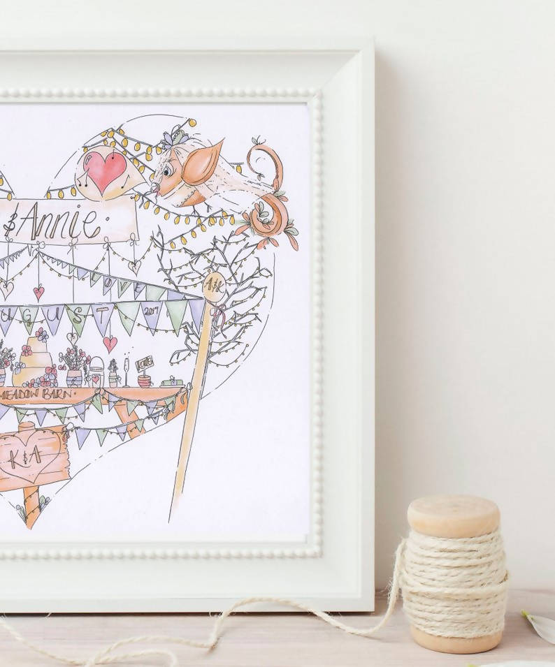 Mrs & Mrs Birds and Bunting Personalised Wedding Print