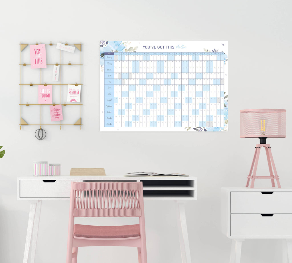 Personalised 2021 Motivational Blue Floral Wall Planner