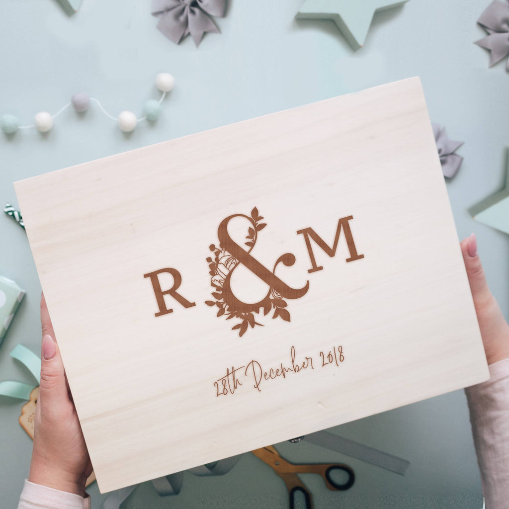 Wooden Keepsake Memory Box for Newlyweds featuring Initials and Wedding Date