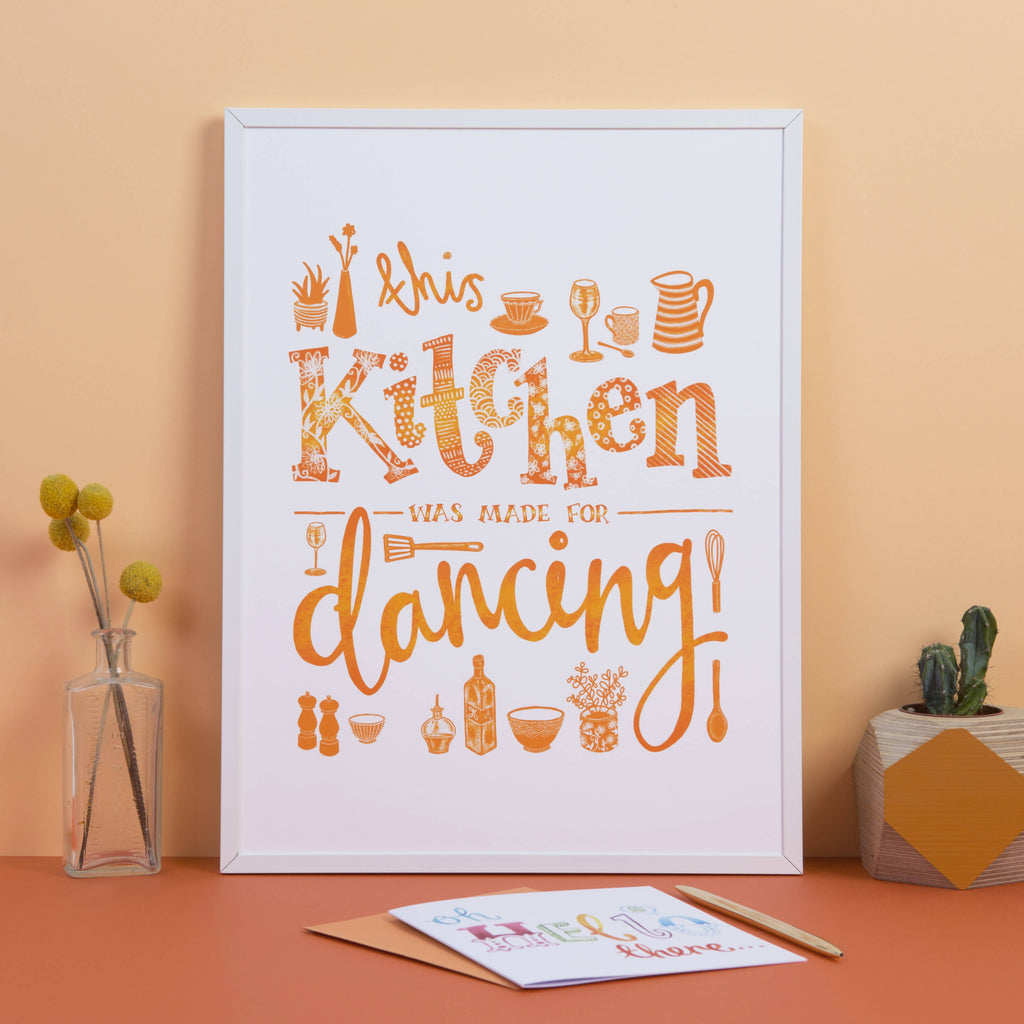 This Kitchen was made for Dancing, Illustrated Typography Wall Art Print in Orange