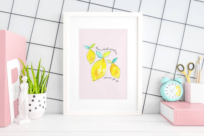 Watercolour Lemon Print - A4 & A5 option - 200gsm High Quality Print