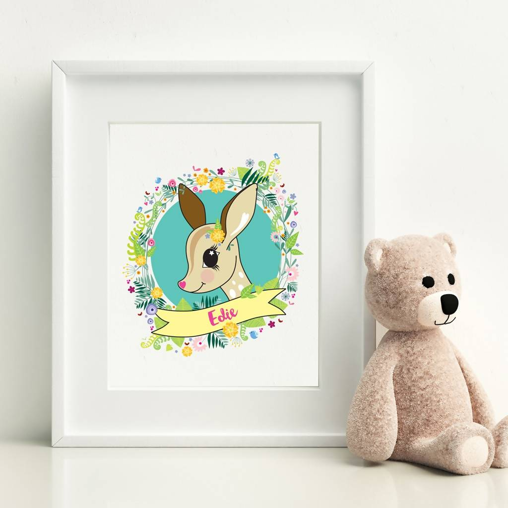 Children's Personalised Fawn Print