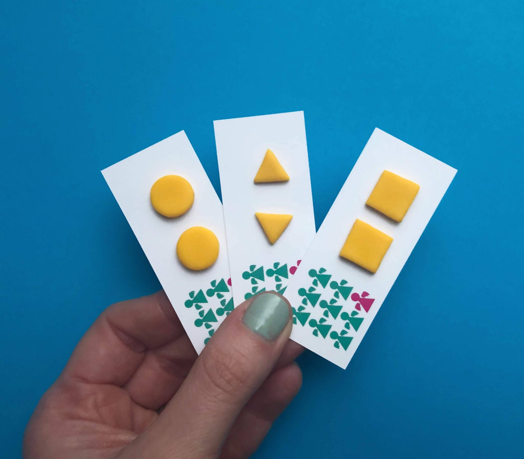 Square yellow polymer clay earrings