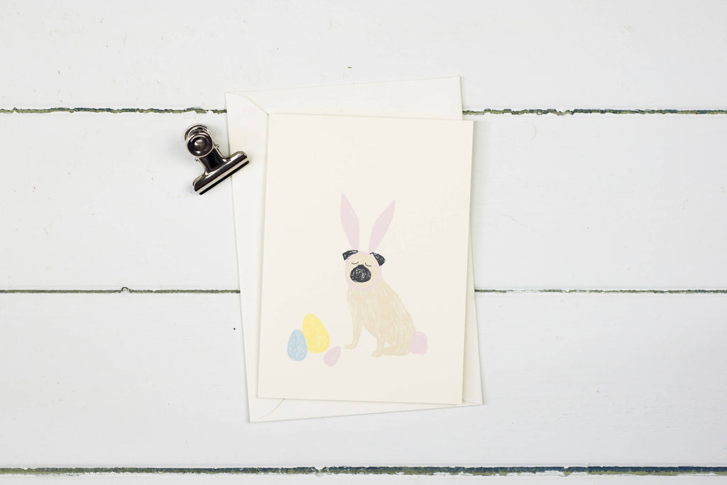 Easter pug greetings card