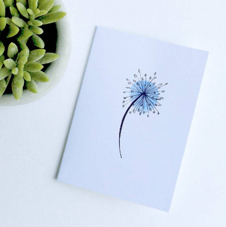 Illustrated dandelion sympathy card